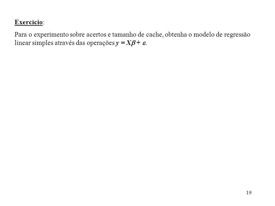 Exercício: Para o experimento sobre acertos e tamanho de cache, obtenha o modelo de regressão linear simples através das operações y = X + .
