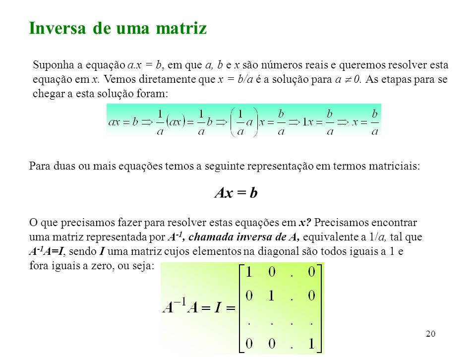 Inversa de uma matriz Ax = b