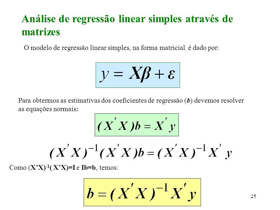 Análise de regressão linear simples através de matrizes