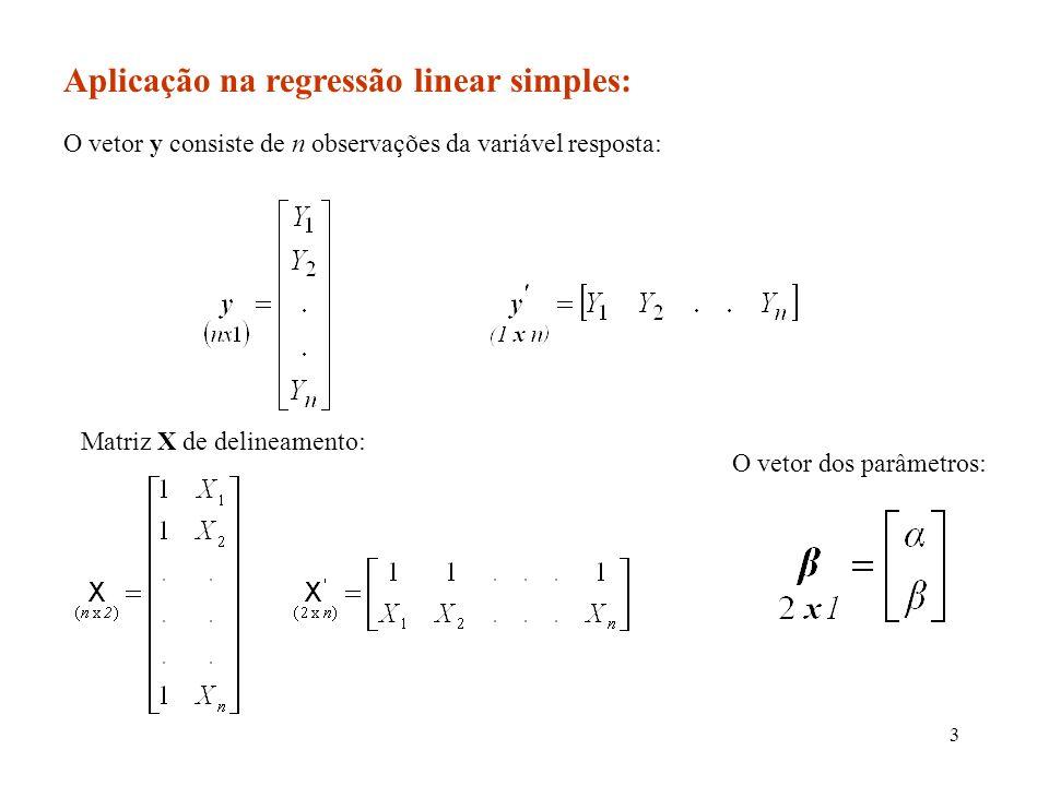 Aplicação na regressão linear simples: