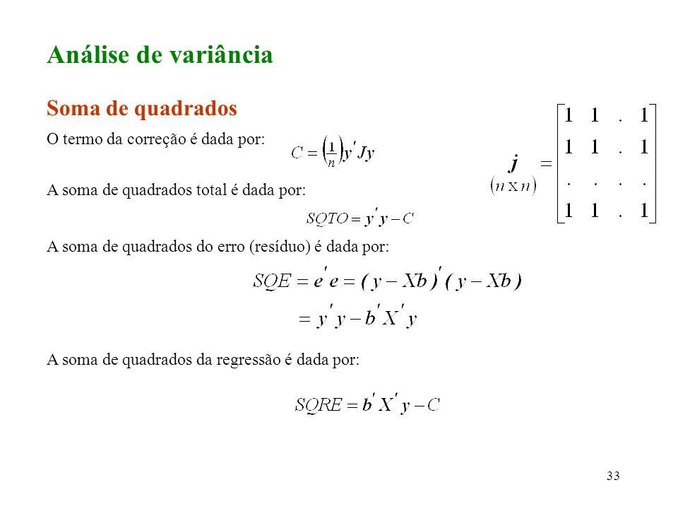 Análise de variância Soma de quadrados O termo da correção é dada por: