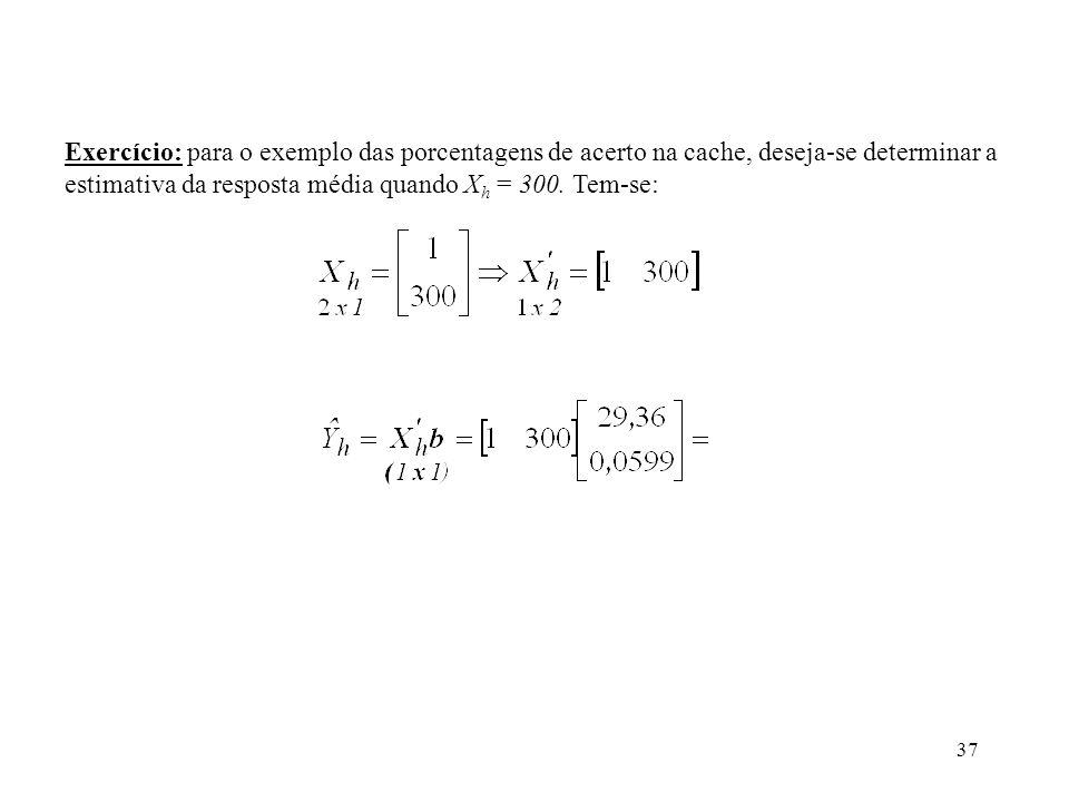 Exercício: para o exemplo das porcentagens de acerto na cache, deseja-se determinar a estimativa da resposta média quando Xh = 300.