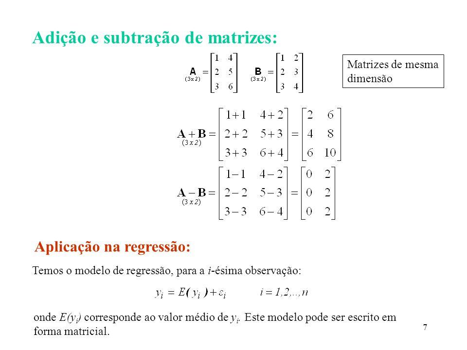 Adição e subtração de matrizes: