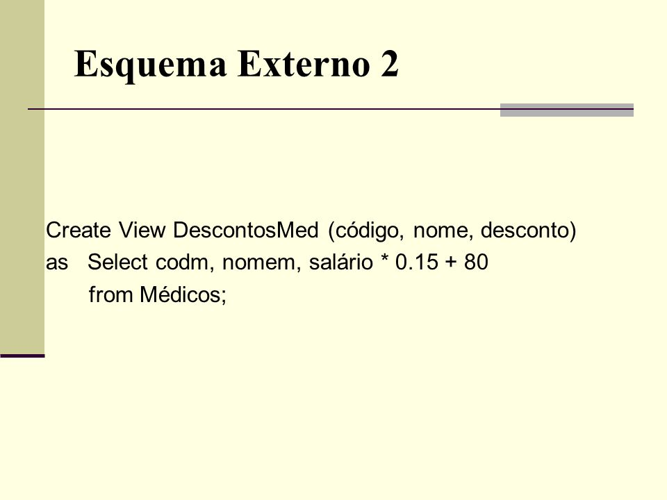 Esquema Externo 2 Create View DescontosMed (código, nome, desconto)
