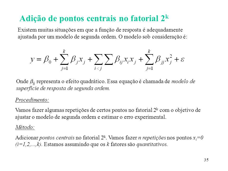 Adição de pontos centrais no fatorial 2k