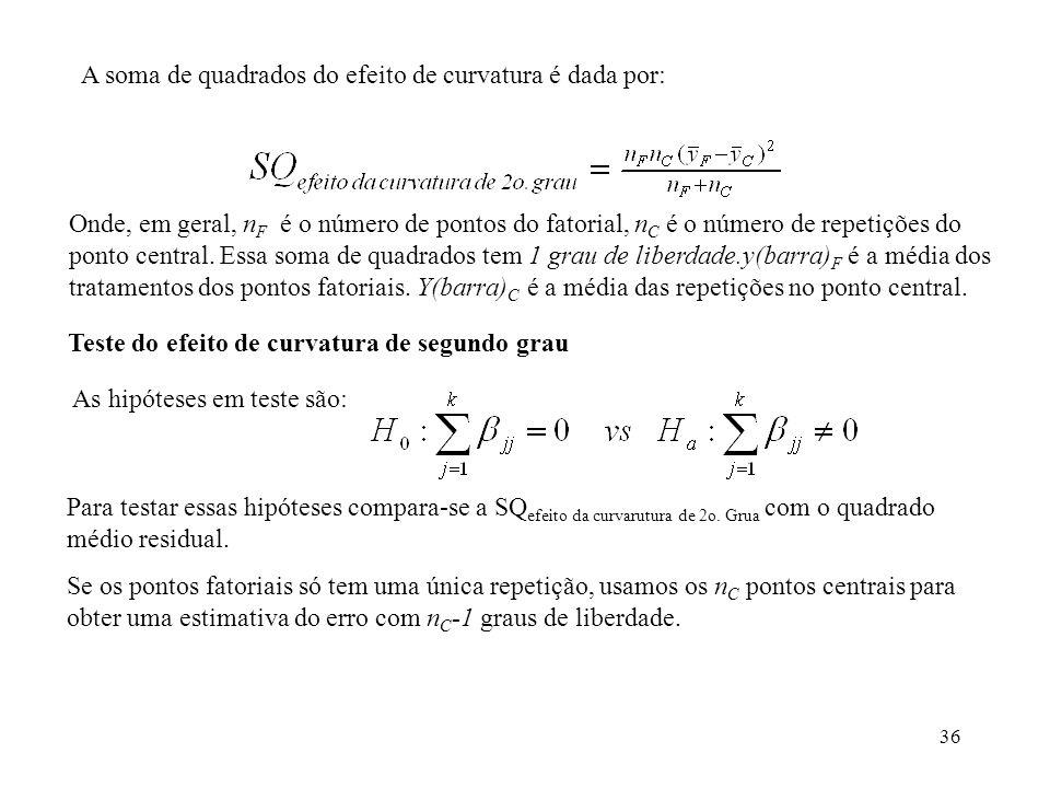 A soma de quadrados do efeito de curvatura é dada por: