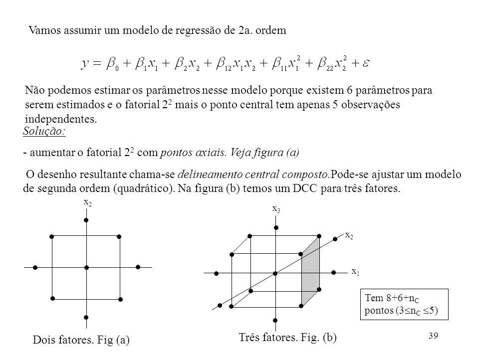 Vamos assumir um modelo de regressão de 2a. ordem
