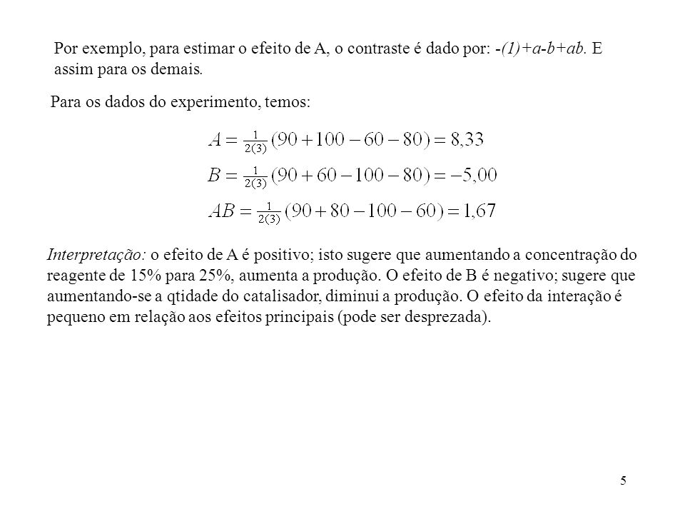 Por exemplo, para estimar o efeito de A, o contraste é dado por: -(1)+a-b+ab. E assim para os demais.