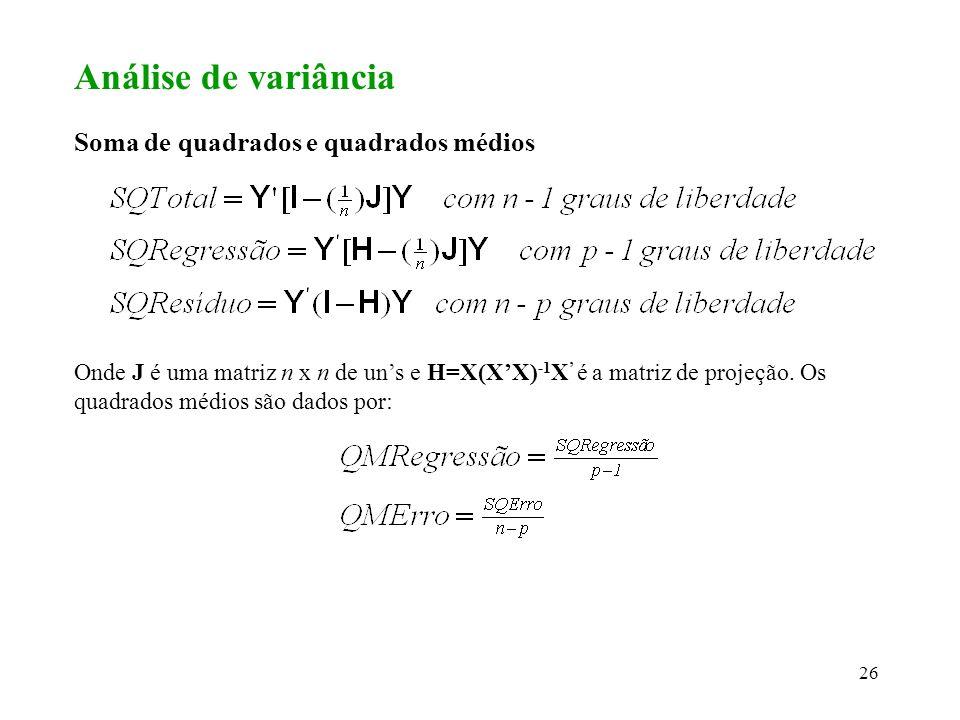 Análise de variância Soma de quadrados e quadrados médios