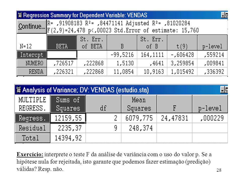 Exercício: interprete o teste F da análise de variância com o uso do valor p.