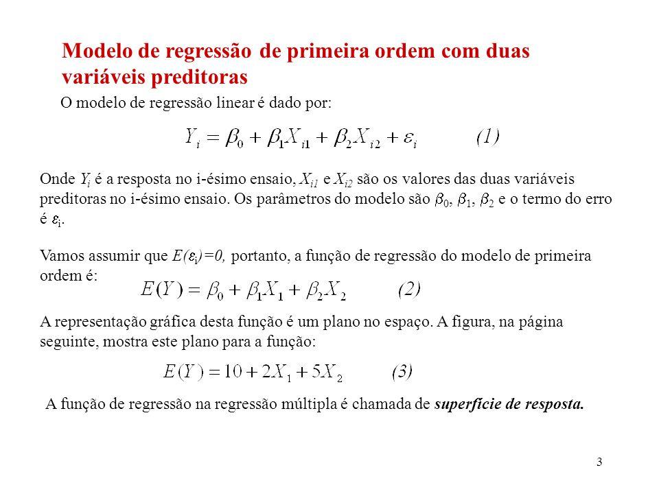Modelo de regressão de primeira ordem com duas variáveis preditoras