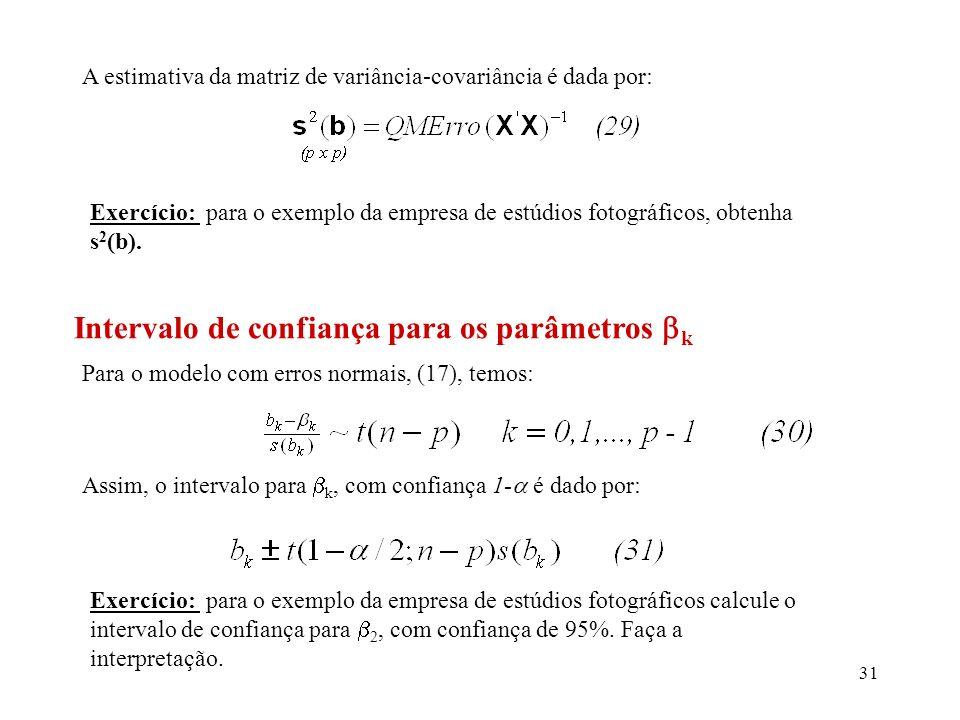 Intervalo de confiança para os parâmetros k