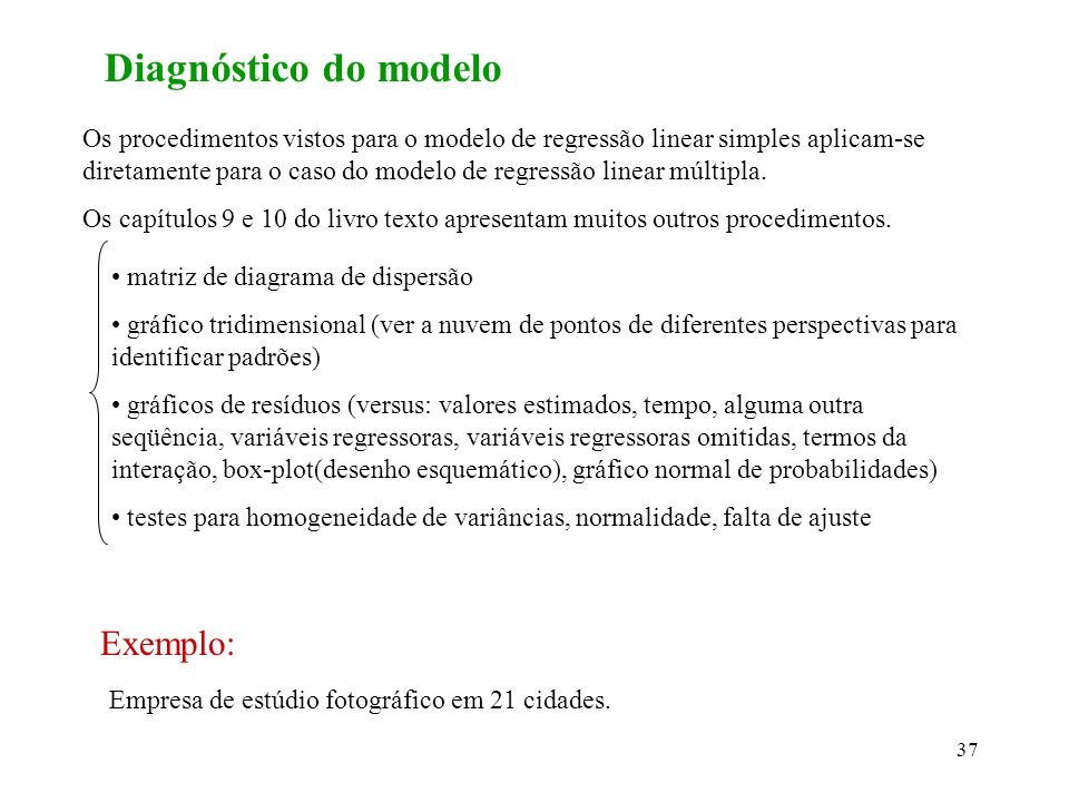 Diagnóstico do modelo Exemplo: