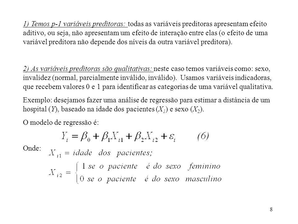1) Temos p-1 variáveis preditoras: todas as variáveis preditoras apresentam efeito aditivo, ou seja, não apresentam um efeito de interação entre elas (o efeito de uma variável preditora não depende dos níveis da outra variável preditora).