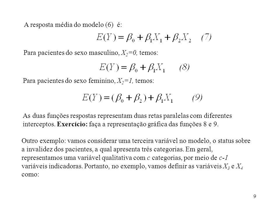 A resposta média do modelo (6) é: