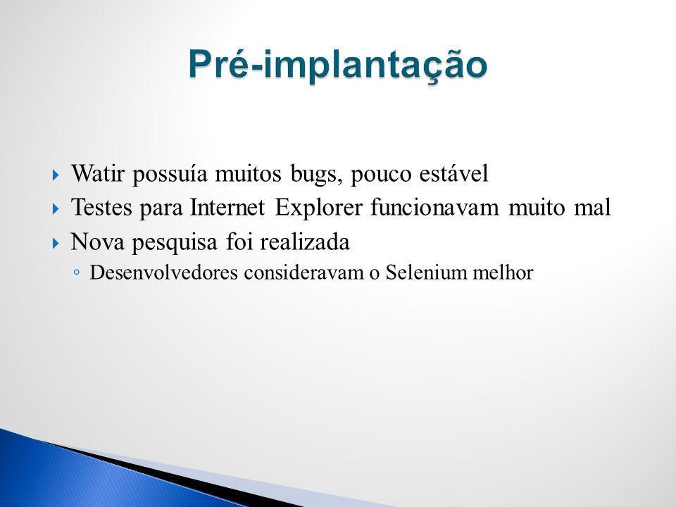 Pré-implantação Watir possuía muitos bugs, pouco estável