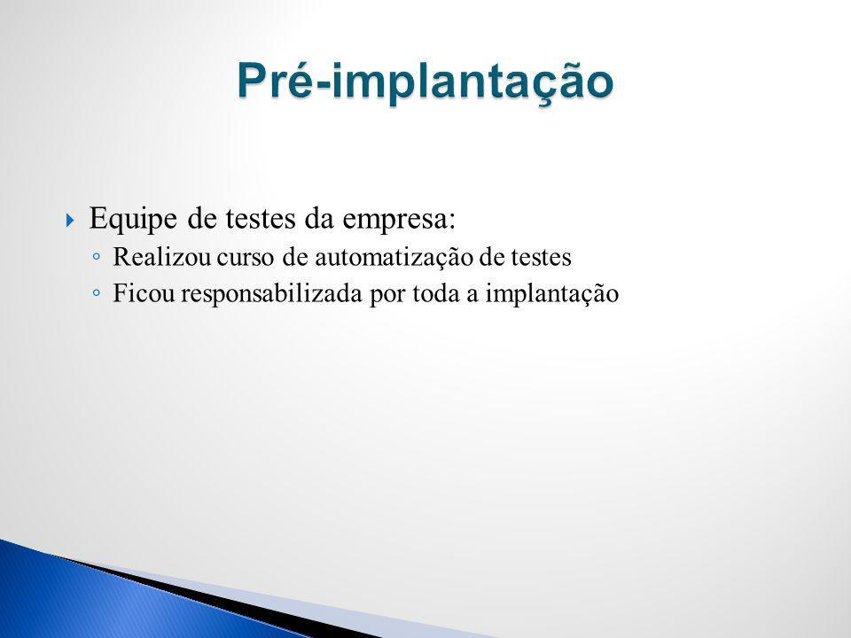 Pré-implantação Equipe de testes da empresa: