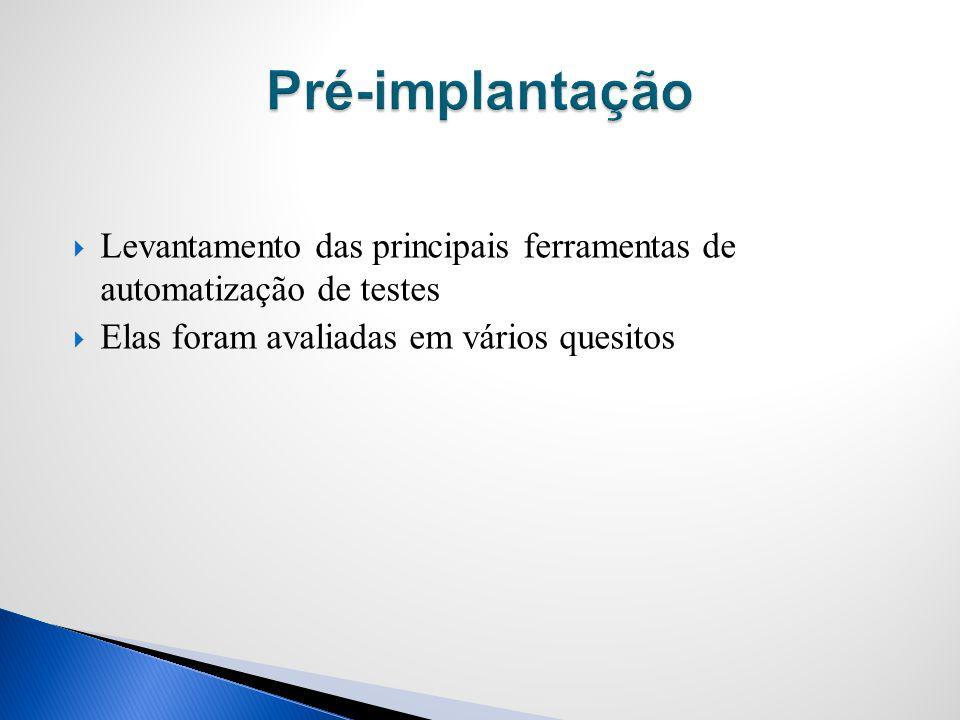 Pré-implantação Levantamento das principais ferramentas de automatização de testes.