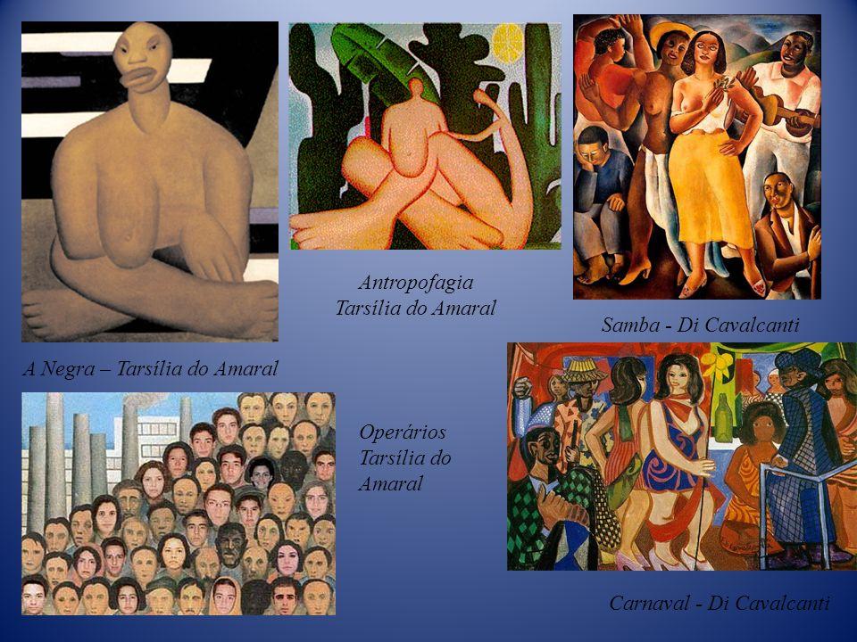 Antropofagia Tarsília do Amaral. Samba - Di Cavalcanti. A Negra – Tarsília do Amaral. Operários.