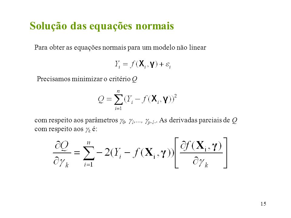 Solução das equações normais