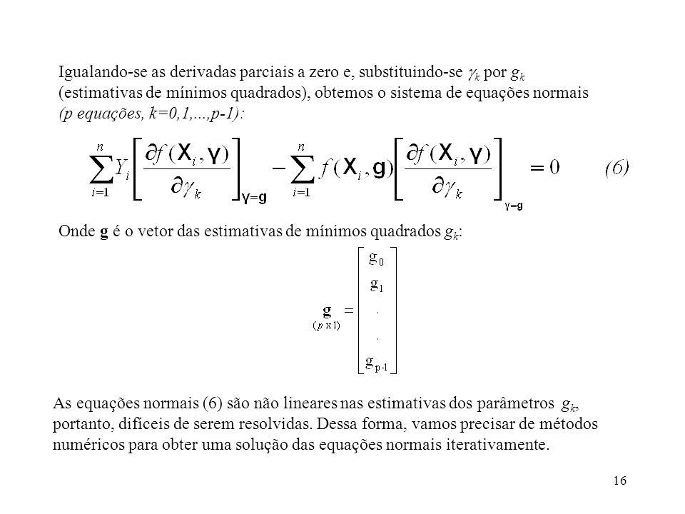 Igualando-se as derivadas parciais a zero e, substituindo-se k por gk (estimativas de mínimos quadrados), obtemos o sistema de equações normais (p equações, k=0,1,...,p-1):