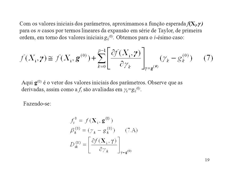 Com os valores iniciais dos parâmetros, aproximamos a função esperada f(Xi, ) para os n casos por termos lineares da expansão em série de Taylor, de primeira ordem, em torno dos valores iniciais gk(0). Obtemos para o i-ésimo caso: