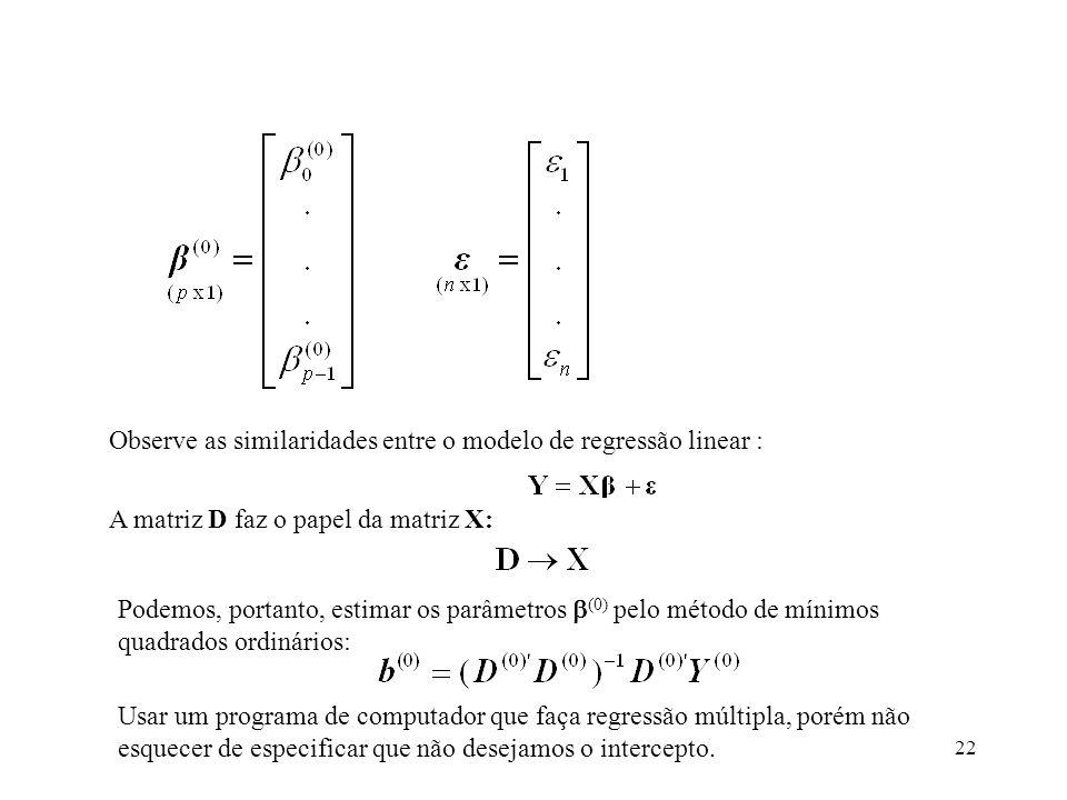 Observe as similaridades entre o modelo de regressão linear :