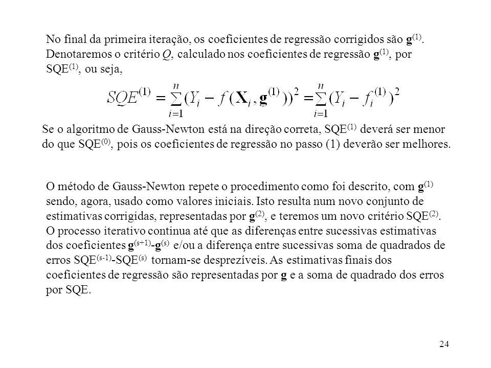 No final da primeira iteração, os coeficientes de regressão corrigidos são g(1). Denotaremos o critério Q, calculado nos coeficientes de regressão g(1), por SQE(1), ou seja,