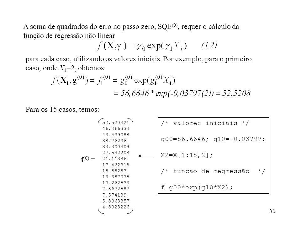 A soma de quadrados do erro no passo zero, SQE(0), requer o cálculo da função de regressão não linear