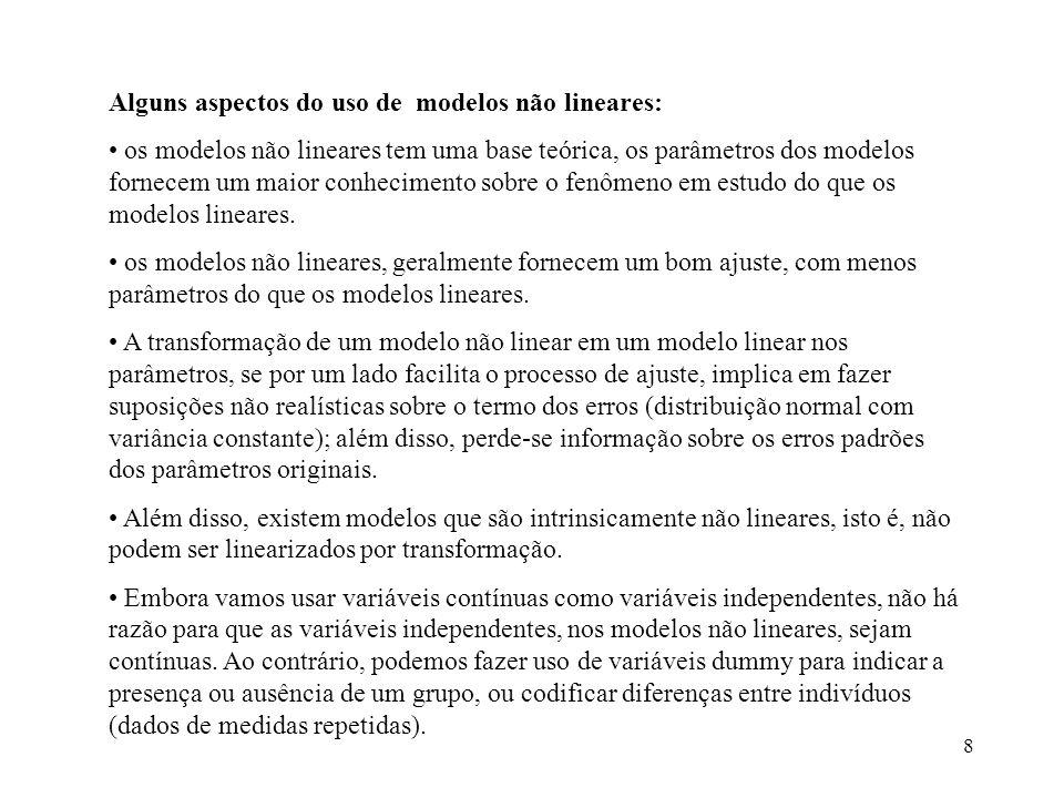 Alguns aspectos do uso de modelos não lineares: