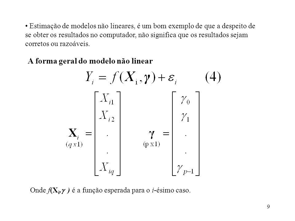 A forma geral do modelo não linear