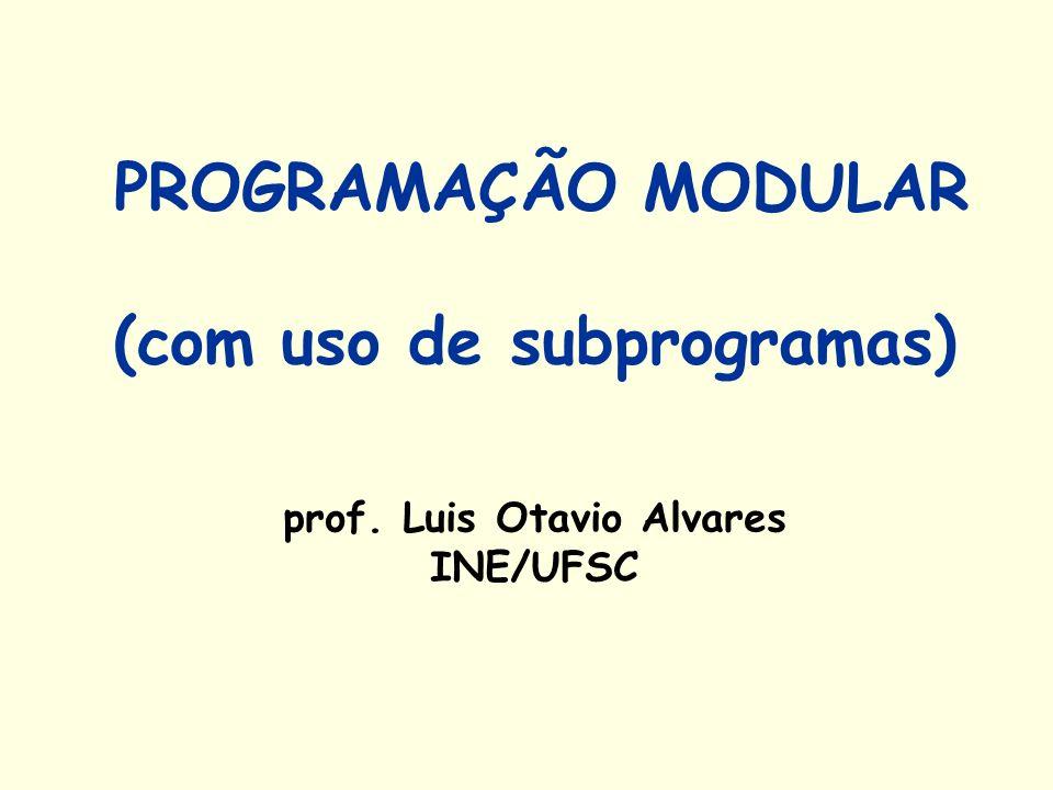 PROGRAMAÇÃO MODULAR (com uso de subprogramas) prof
