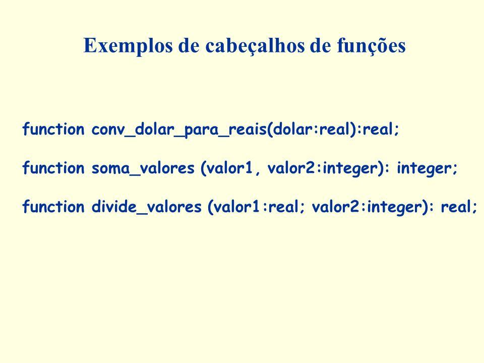 Exemplos de cabeçalhos de funções