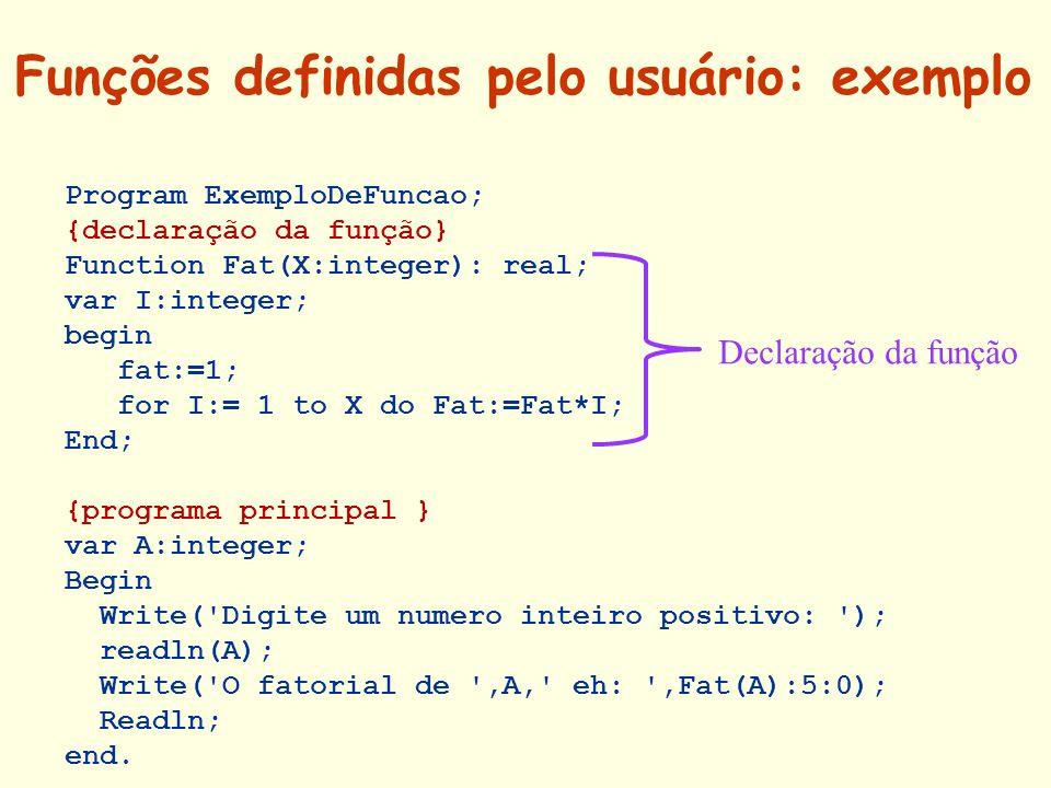Funções definidas pelo usuário: exemplo