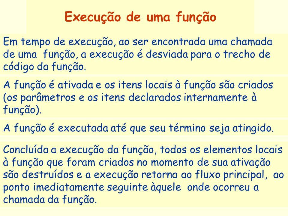 Execução de uma função Em tempo de execução, ao ser encontrada uma chamada de uma função, a execução é desviada para o trecho de código da função.
