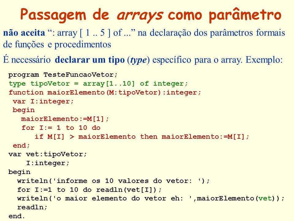 Passagem de arrays como parâmetro