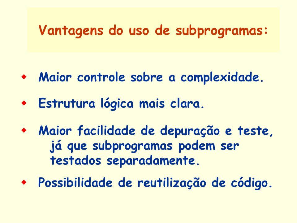 Vantagens do uso de subprogramas: