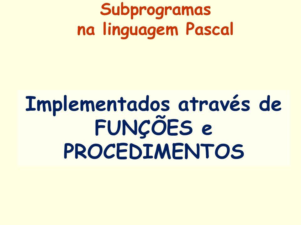 Subprogramas na linguagem Pascal