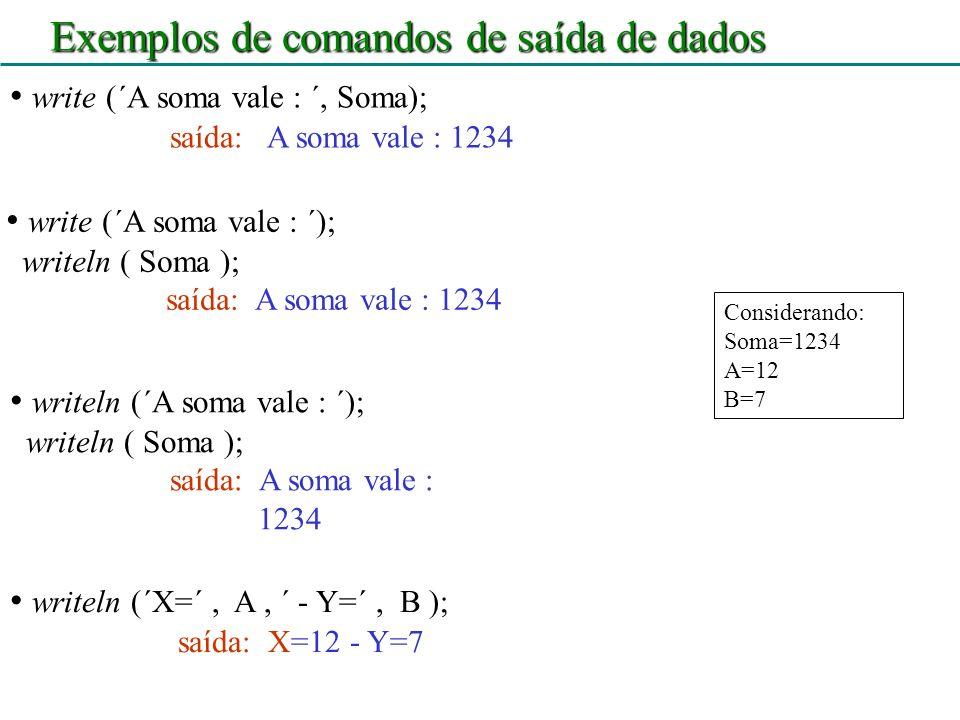 Exemplos de comandos de saída de dados
