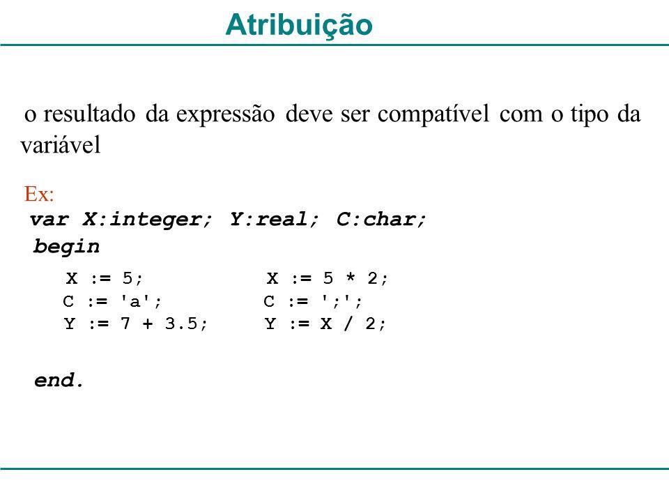 Atribuição begin end. C := a ; C := ; ; Y := 7 + 3.5; Y := X / 2;