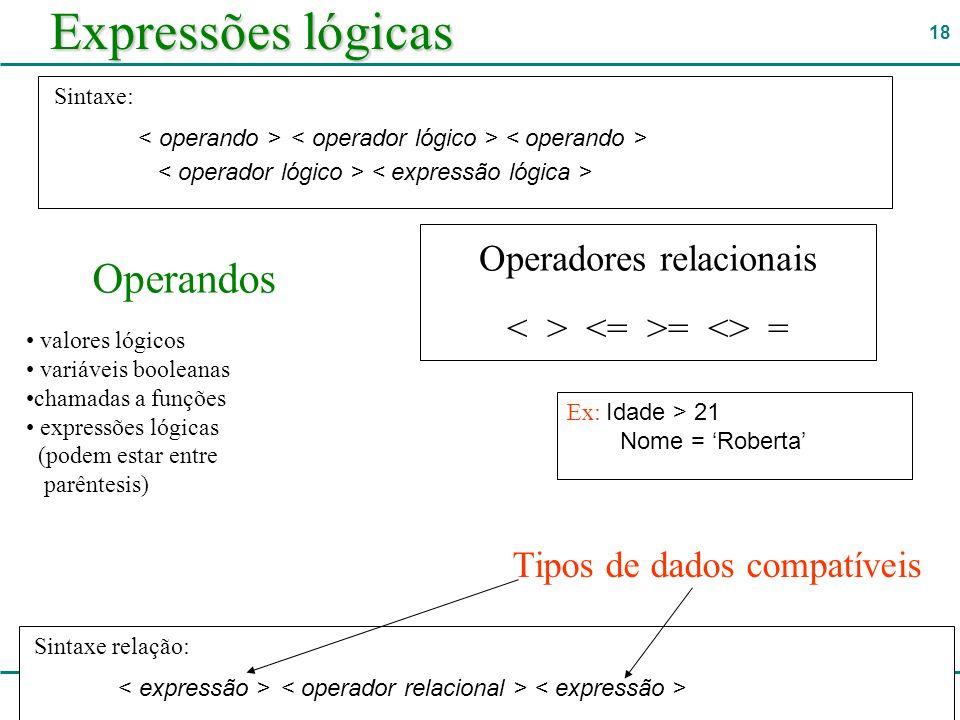 Expressões lógicas Operandos Operadores relacionais