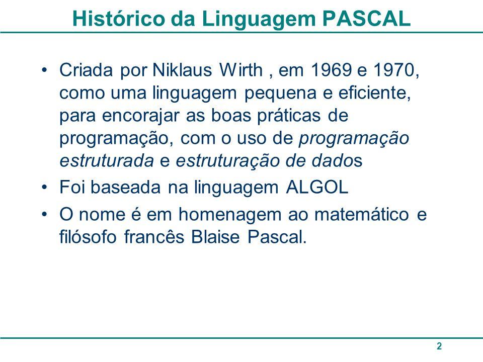 Histórico da Linguagem PASCAL