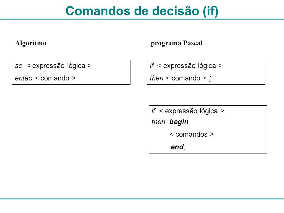 Comandos de decisão (if)