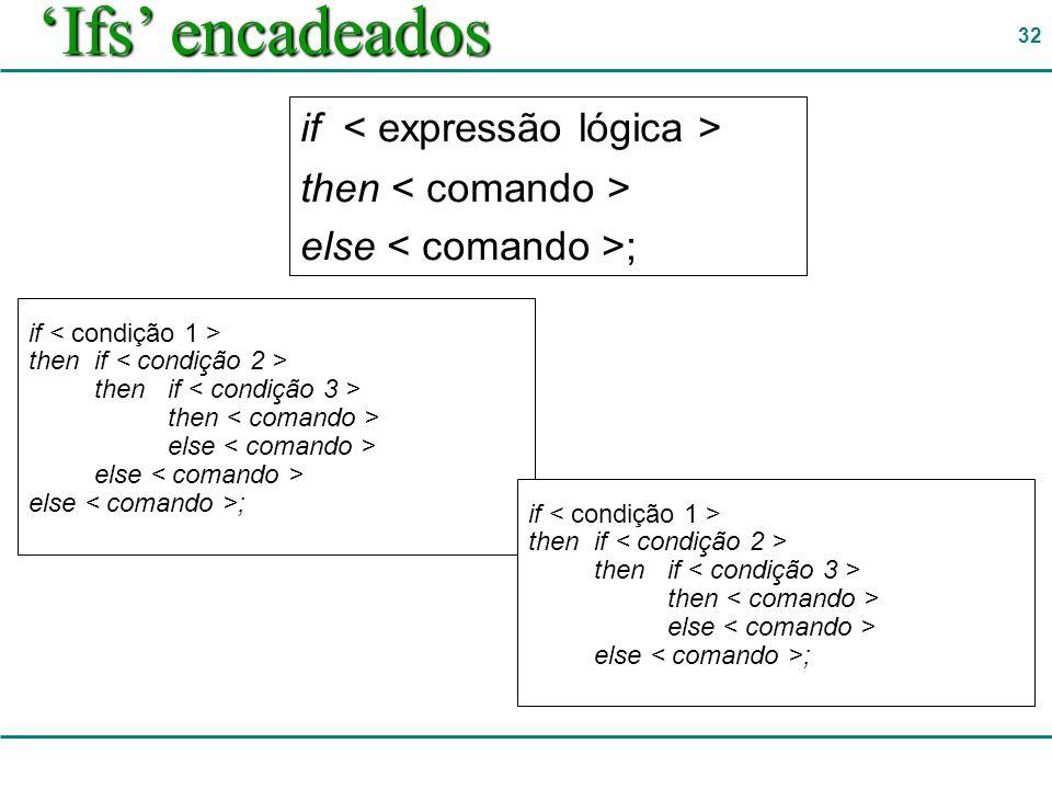 'Ifs' encadeados if < expressão lógica > then < comando >