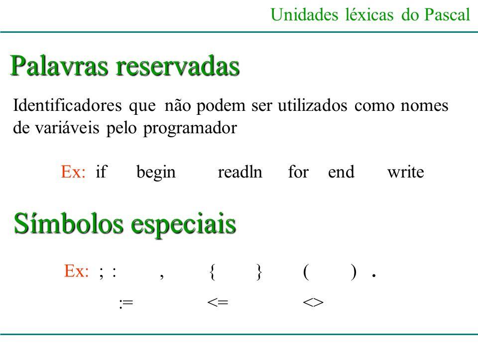 Palavras reservadas Símbolos especiais := <= <>