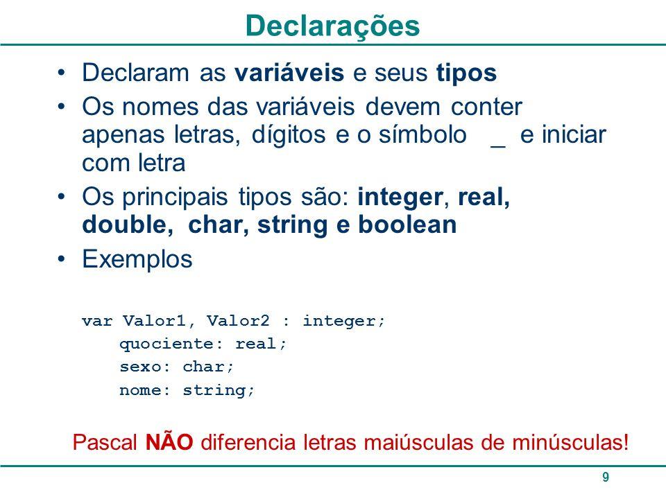 Declarações Declaram as variáveis e seus tipos