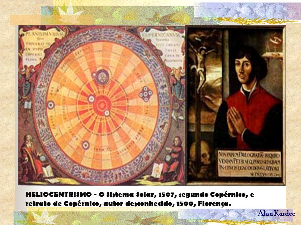 HELIOCENTRISMO - O Sistema Solar, 1507, segundo Copérnico, e retrato de Copérnico, autor desconhecido, 1500, Florença.