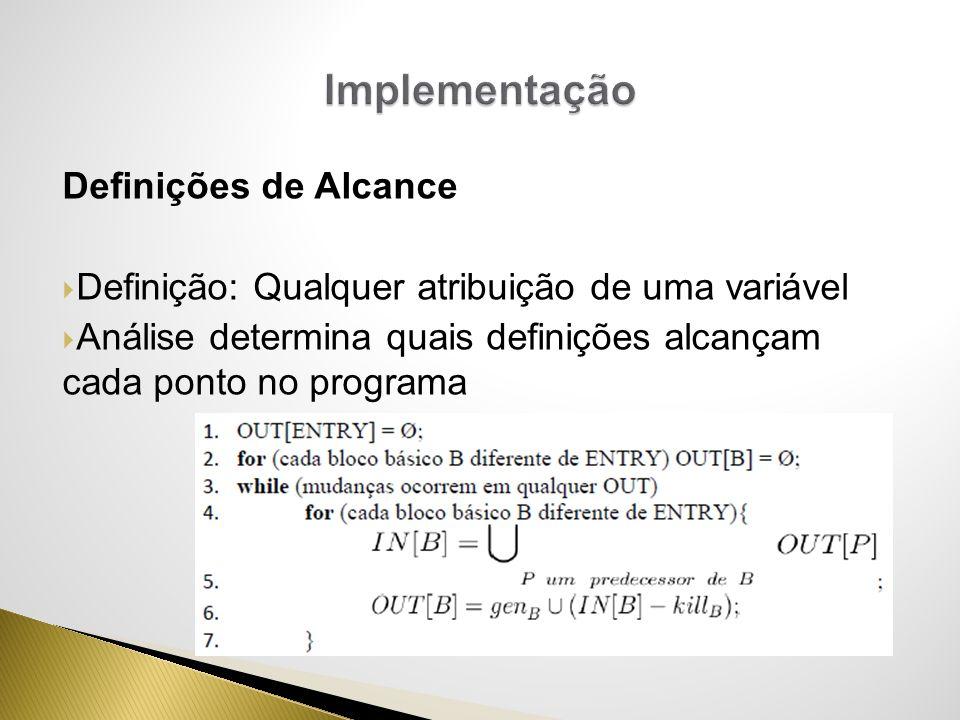 Implementação Definições de Alcance