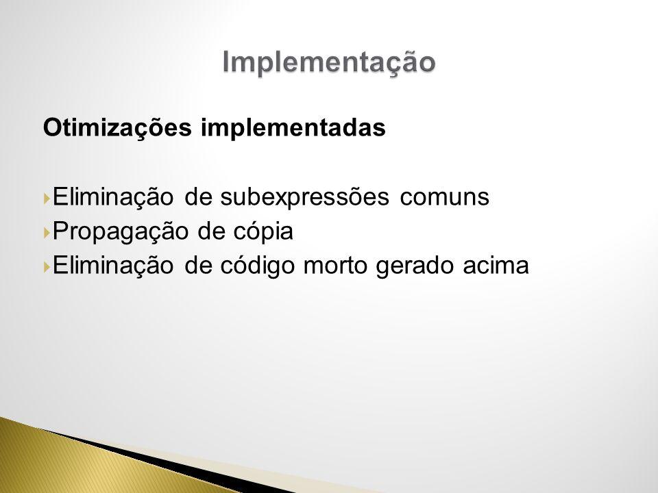 Implementação Otimizações implementadas