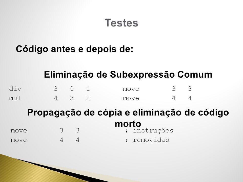 Testes Código antes e depois de: Eliminação de Subexpressão Comum